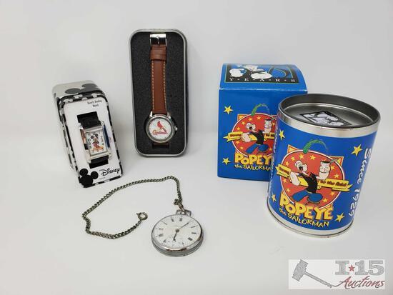 Disney Watch, Pocket Watch, Popeye Watch, MLB Game Time Watch- With COA