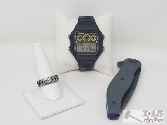 Casio Watch, Ring, and Knife