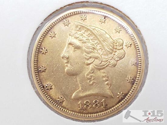 US 1881 5-Dollar Gold Eagle Liberty Head