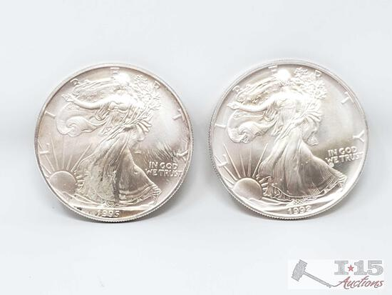 2 1994 And 1995 Walking Liberty Fine Silver 1oz Coins