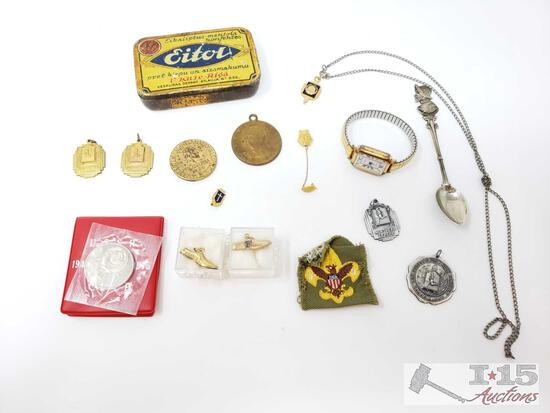 U.S.S.R Coin, Cross Country Pendants, Decorative Spoon, Timex Watch, And More