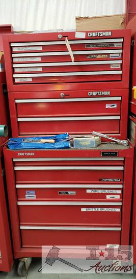 Craftsman 3 Piece 11 Drawer Tool Box With Tools And More