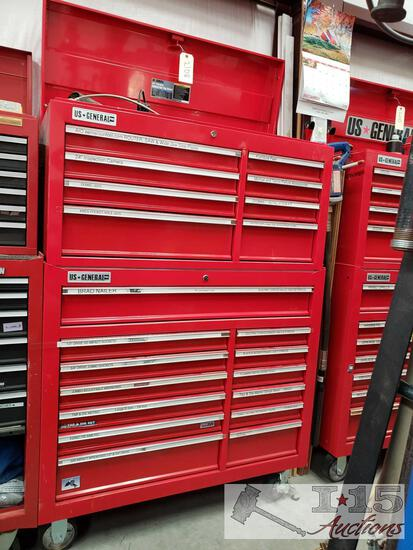 US General 2 Piece 21 Drawer Tool Box With Tools
