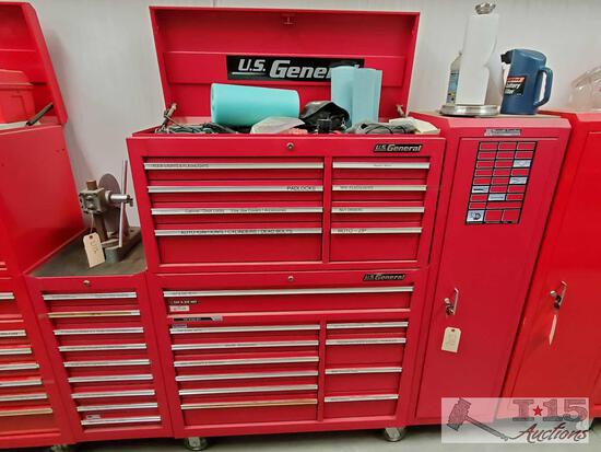 "U.S. General 42"" Tool Box, Top Box, Side Cabinet, And Side Drawers"