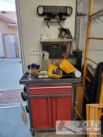 Plastic Tool Cart, Metal Shelf With Drawers, Lighted Power Strip,And More