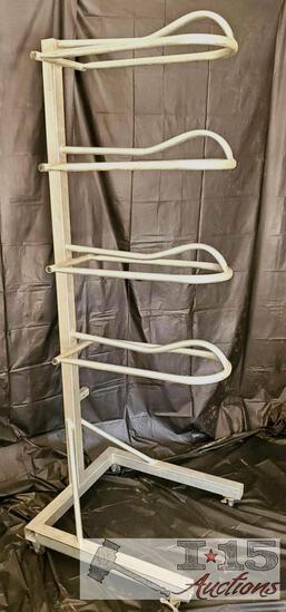 4-Tier Steel Saddle Rack on Wheels with Wheel Locks