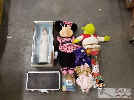 Poker Set, Stuffed Animals, Minnie Mouse, Shrek, and Diana Princess Of Wales, and More