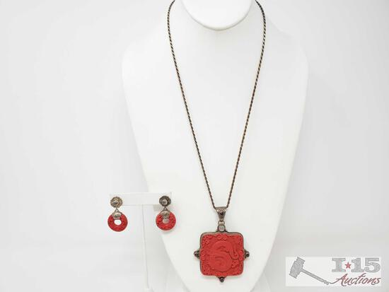 Sterling Silver Necklace With Matching Earrings