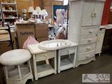 Wicker Bedroom Set, 2 Nightstands, Dresser, Table, and Cabinet