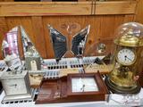 John Gilmore Glass Pieces and 3 Clocks