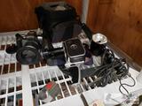 Vintage Bolex Paillard Camera, Eos Rebel T2 and Flash
