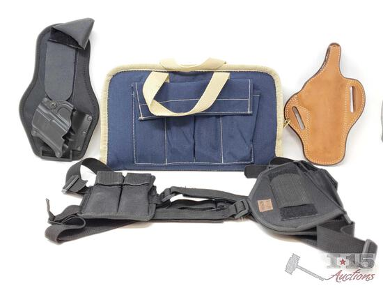 3 Holsters and a Pistol Case