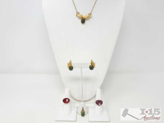 Gold Filled Necklace, 2 GF Rings, And GF Pendant