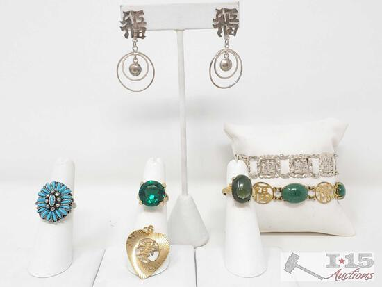 Costume Jewelry Includes 3 Rings, Pendant, 2 Bracelets, And Earrings