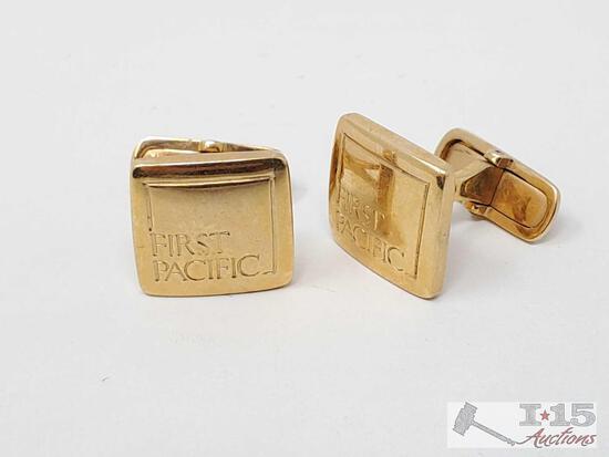 """18k Gold """"First Pacific"""" Cufflinks, 16.9g"""