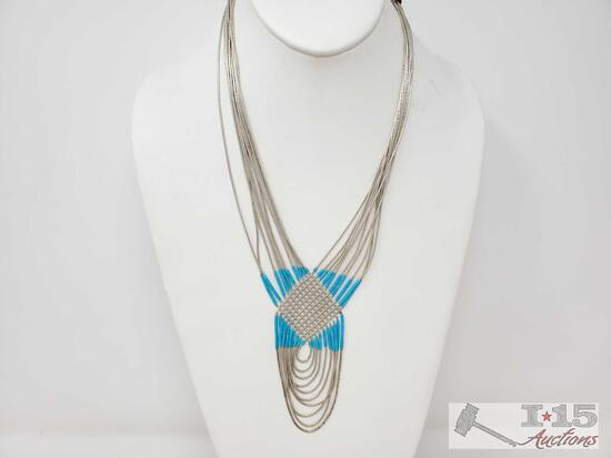 Sterling Silver And Turquoise Necklace, 27.8g