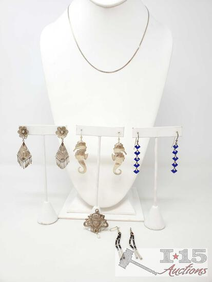 4 Pairs Of Sterling Silver Dangle Earrings, Sterling Silver Pendant, And Sterling Silver Chain,