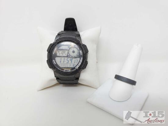 Triton Tungsten Carbide Ring And Casio Watch