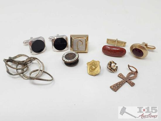5 Cufflinks, 3 Pins, And Copper Pendant