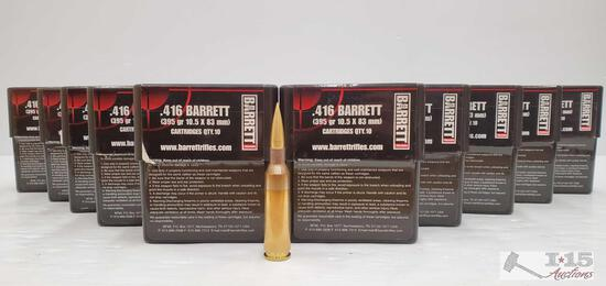 100 Rounds Of .416 Barrett - 395 GR 10.5 x 83mm