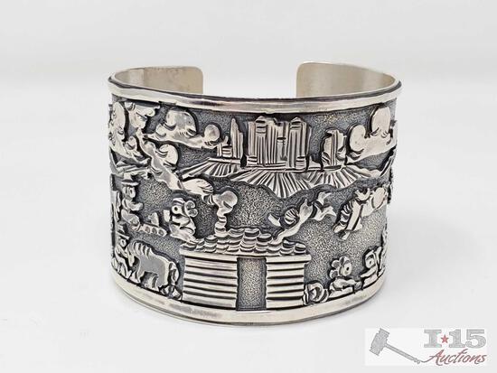 Sterling Silver RB Story Teller Native American Cuff/Bracelet, 84.2g