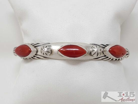 Heavy Artist Marked Sterling Silver Cuff With Blood Red Coral Stones