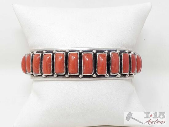 Marcella James Sterling Silver Cuff With Red Coral Stones, 47g
