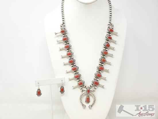 Sterling Silver Squash Blossom set W/ Blood Red Coral Stones Matching Earrings