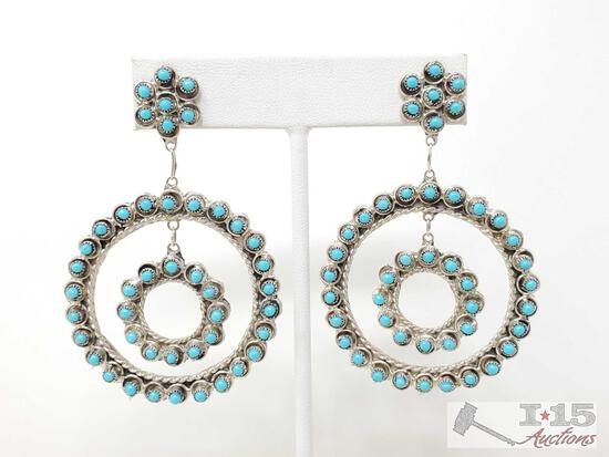 Native American Turquoise Cluster Hoop Earrings......, 11.3g