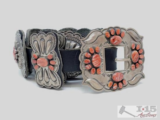 L. James Sterling Silver Concho Belt With Red Spiny Oyster, 568g