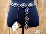 Jerry Nelson Thick Sterling Silver Link Belt With Lapis And Spiny Oyster Stones.