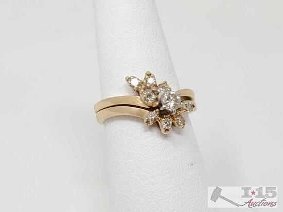 14k Gold Diamond Ring With 14k Gold Diamond Band, 3.8g