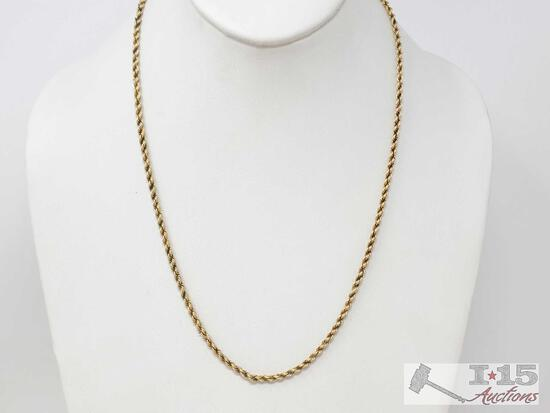 14k Gold Rope Chain, 15.9g