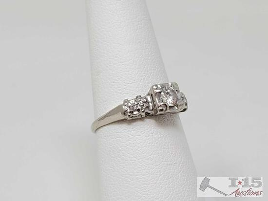 14k White Gold Ring With Diamonds, 2g