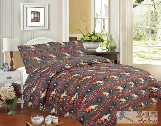 Brand New 4 piece...King Size...Gray Running Horse Luxury Comforter Set