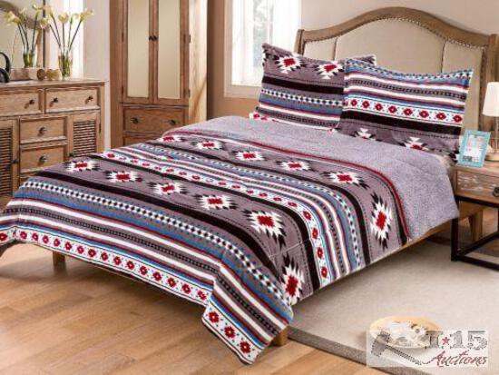 King Size 3 pc Borrego comforter set with southwest design.