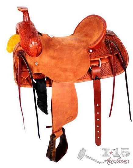 """NEW 16"""" Hard seat roper saddle. 5 Year Roping"""