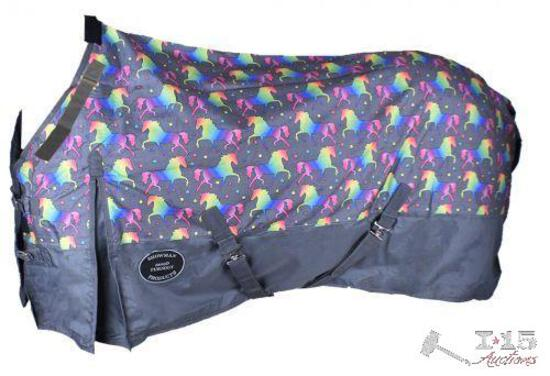 NEW The Waterproof and Breathable Unicorn Print 1200 Denier Perfect Fit Turnout Blanket. Size 80