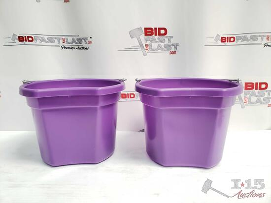"""NEW Two (2) 8 Qt Flat back bucket, 8.5"""" tall. Made in USA"""