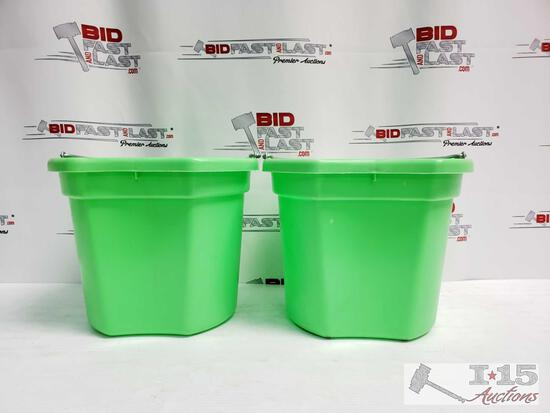 """Two (2) 20 Qrt. Flat back bucket, 11"""" tall. Made in USA."""