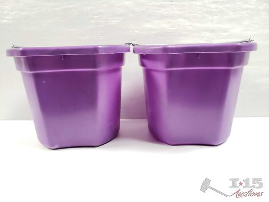 """NEW Two (2) 20 Qrt. Flat back bucket, 11"""" tall. Made in USA."""