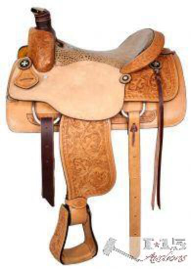 """NEW 16"""" Circle S Rope Saddle with alligator print seat. warrantied for roping"""