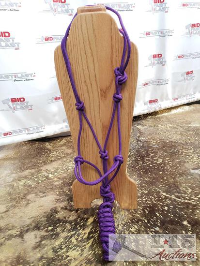 1 Nylon Purple cowboy knot rope halter with removable 8 ft lead
