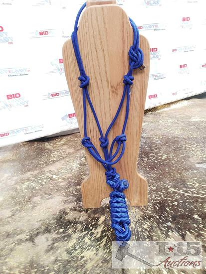 1 Nylon Royal Blue cowboy knot rope halter with removable 8 ft lead