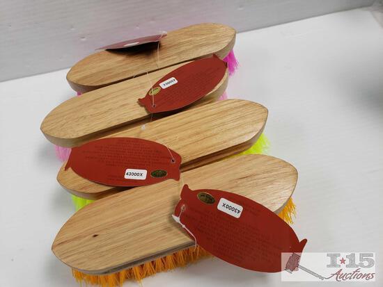 "4 Medium bristle brushes with wood handle measures 2"" x 8"""
