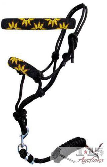 Sunflower beaded nose cowboy knot rope halter with 7' lead.