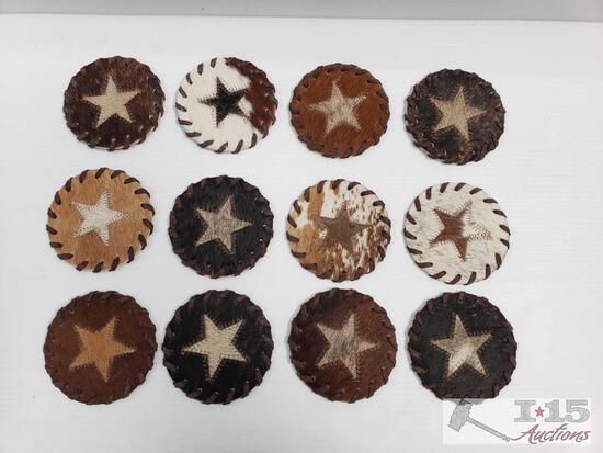 12 Texas Star Cowhide Coasters.