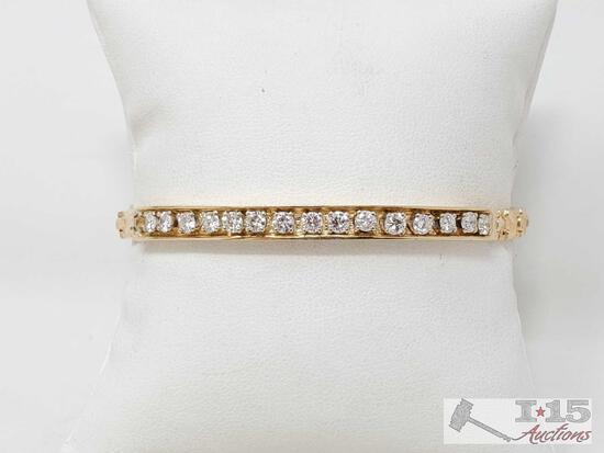 14k Gold Bracelet With Diamonds, 19.9g