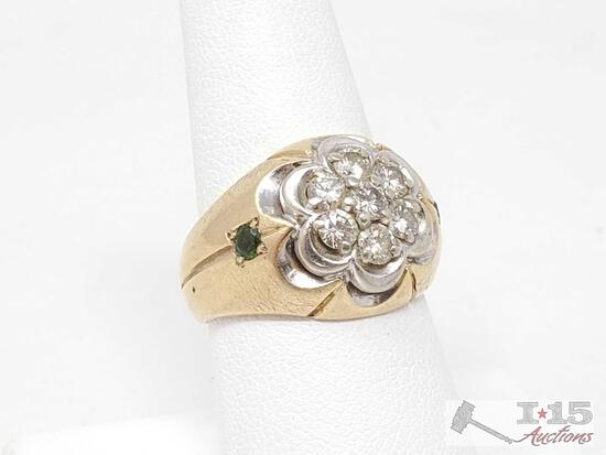 14k Gold Ring With Diamonds, 10.2g