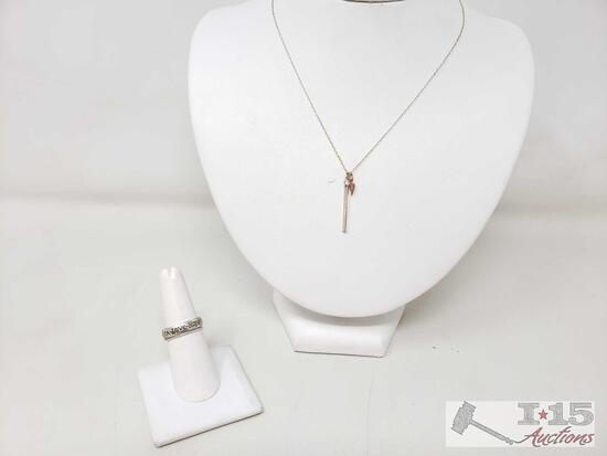 Sterling Silver Necklace And 2 Sterling Silver Rings